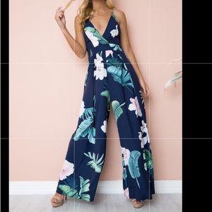 4b6eca2259fe Blue floral jumpsuit romper